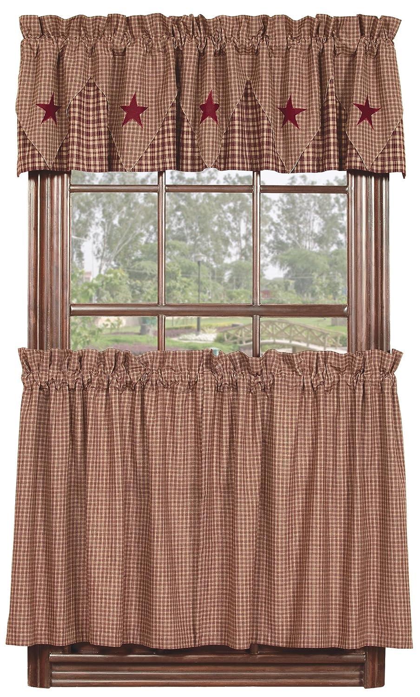 Primitive curtains for kitchen - Amazon Com Ihf Home Decor 36 Tier Curtain Vintage Star Black Design Cotton Window Curtains Tiers 72 X 36 Inch Home Kitchen