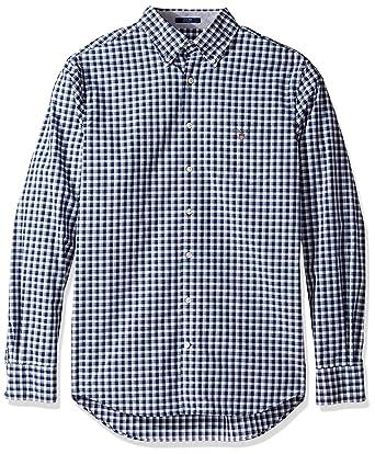 200eace811e GANT Shirts Standard GANT Men's Tech Prep Broadcloth Plaid Shirt Marine  Small