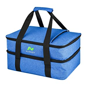 Premium double expandable insulated casserole carrier with two bonus hot and cold pads, perfect for potlucks, picnics, parties, camping and road trips plus easily fits two 9x13 baking dish