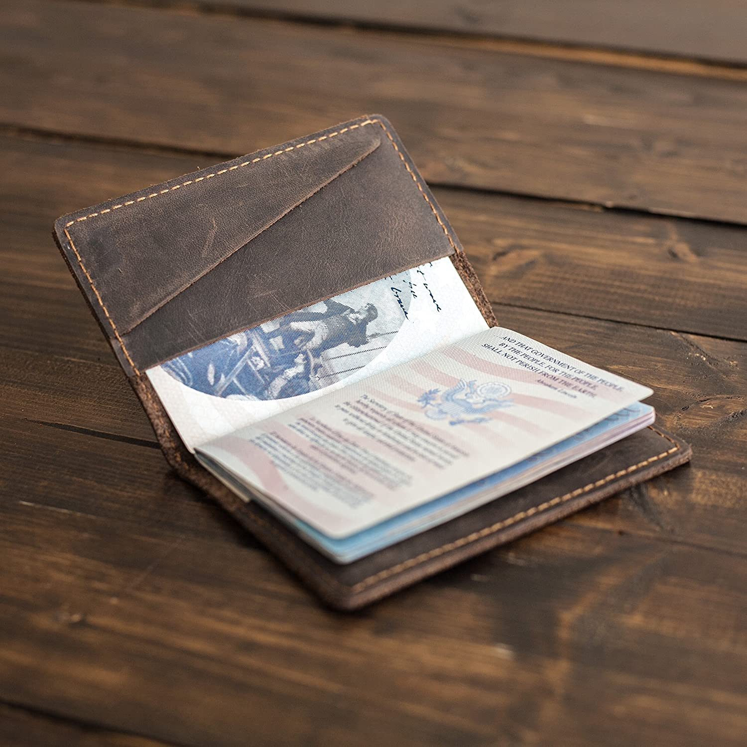 Pegai Passport Cover, Distressed Leather Passport Holder, Rustic Passport Case - DeKalb | Chestnut Brown