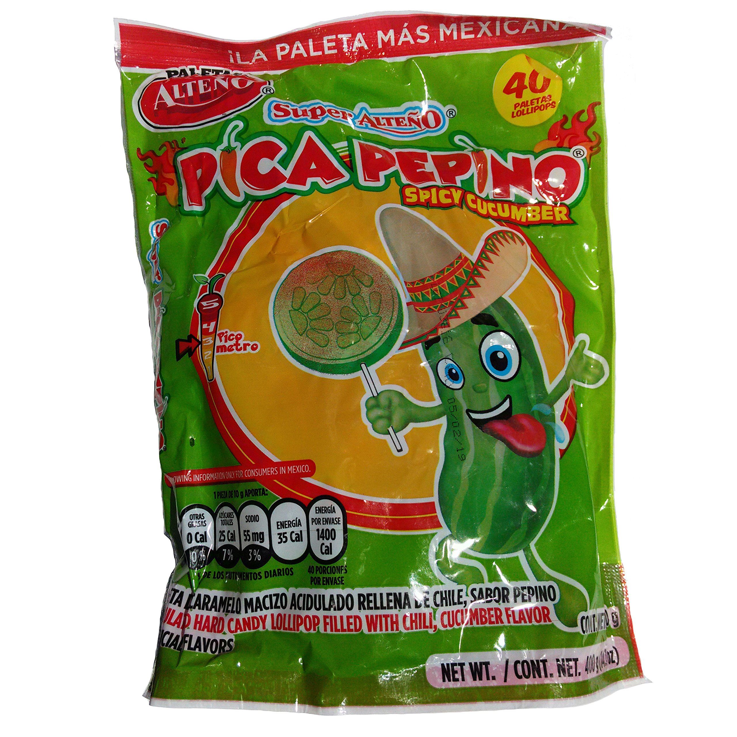 Amazon.com : Alteno Super Pepino (Cucumber) with Chili Lollipop (40 Pieces) : Suckers And Lollipops : Grocery & Gourmet Food