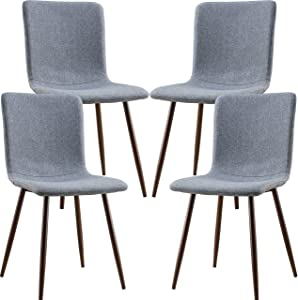 POLY & BARK EM-287-GRY-X4-A Wadsworth Dining Chair with Walnut Legs, Set of 4