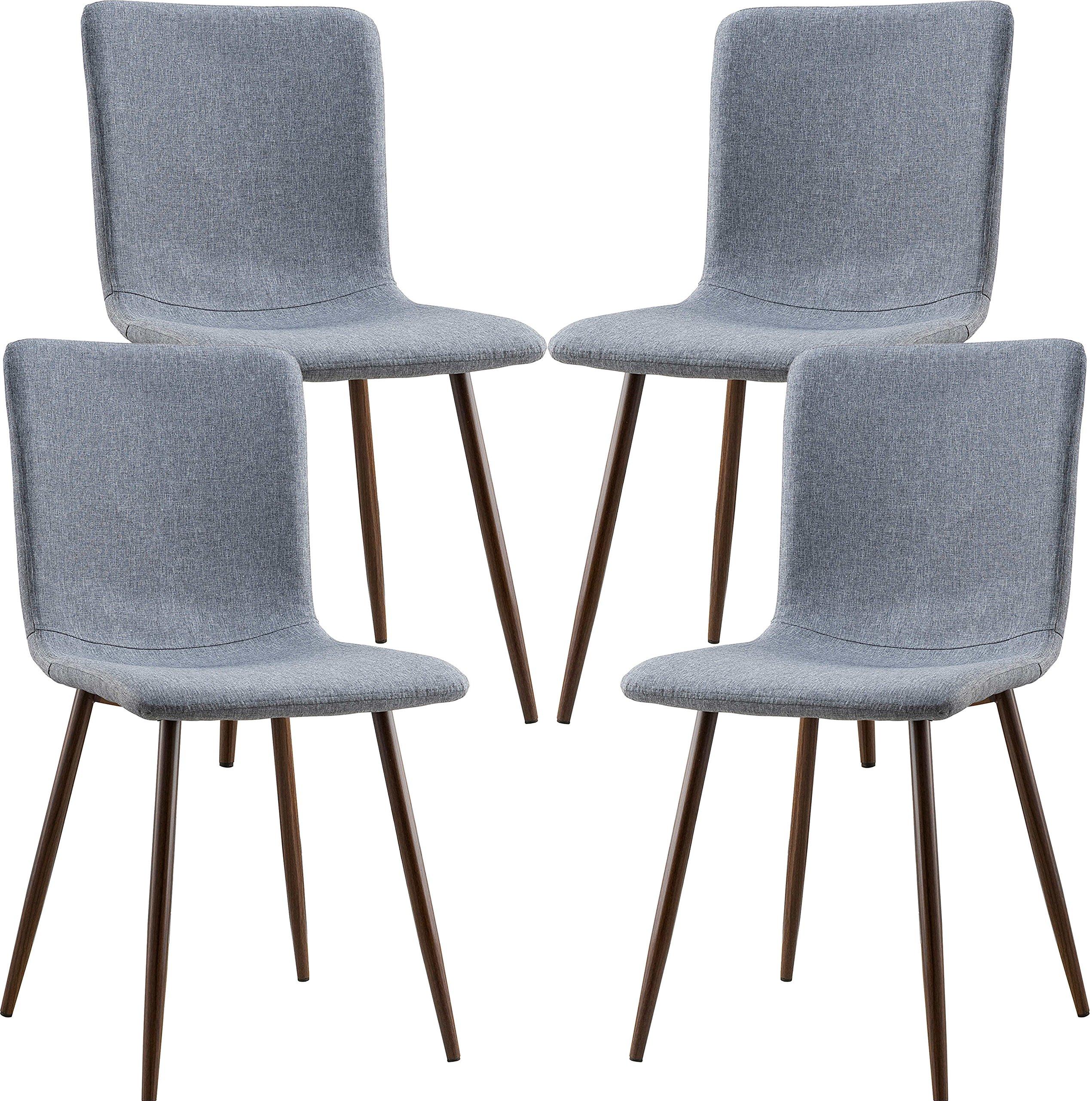 POLY & BARK EM-287-GRY-X4-A Wadsworth Dining Chair with Walnut Legs, Set of 4,