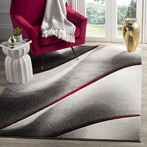 Safavieh Hollywood Collection HLW712K Grey and Red Mid-Century Modern Abstract Area Rug 2 7 x 5