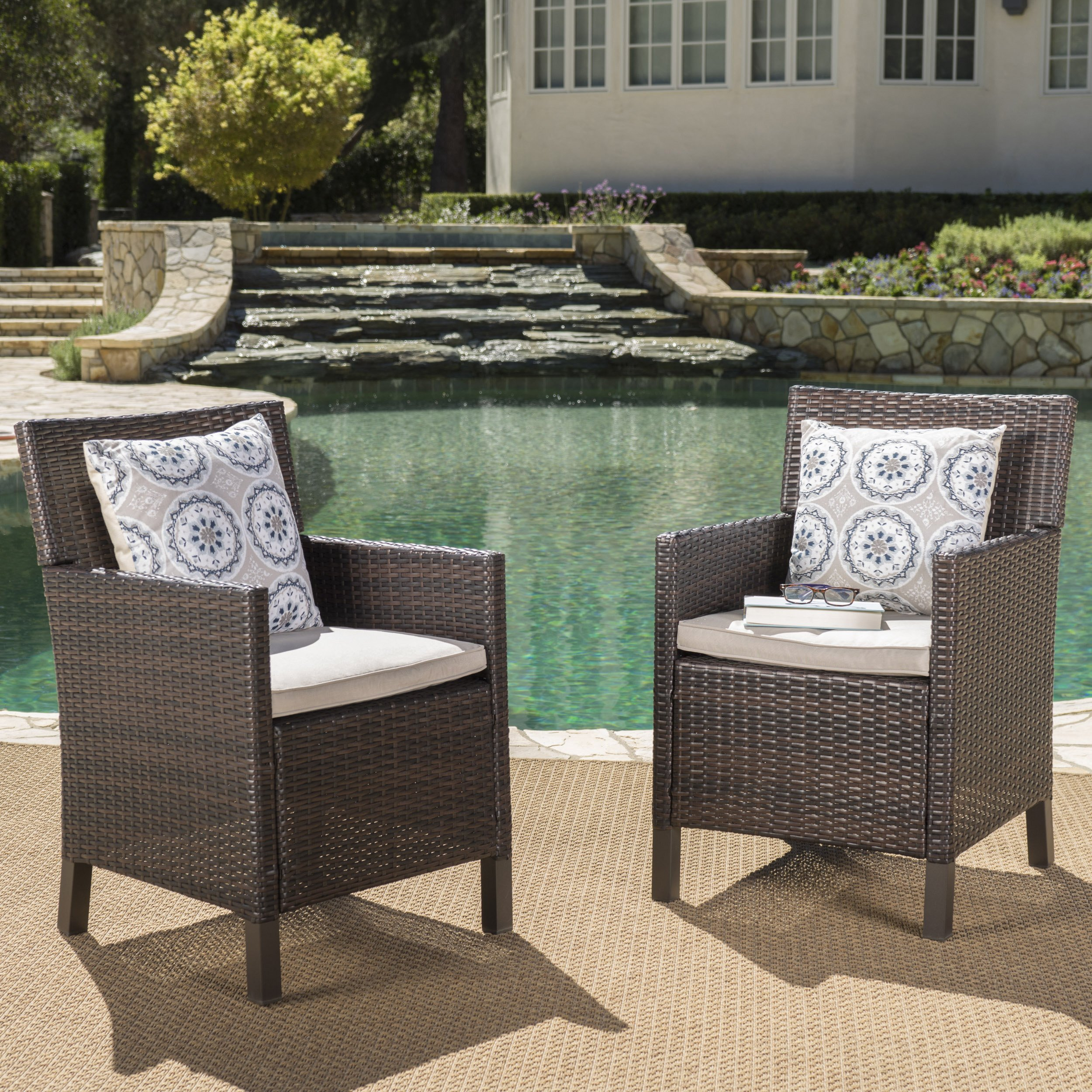 Cyrus Outdoor Wicker Dining Chairs with Water Resistant Cushions (Set of 2) (Multibrown/Light Brown)