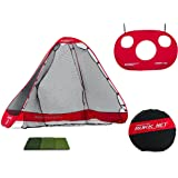 Rukket 4pc Golf Bundle | 10x7ft Portable Driving Net | Chipping Target | Tri-Turf Hitting Mat | Carry Bag | Practice Outdoor and Indoor