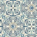 NuWallpaper NU2235 Blue Florentine Tile Peel and Stick Wallpaper