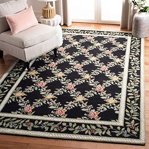 Safavieh Chelsea Collection HK60B Hand-Hooked Black Premium Wool Area Rug 6 x 9