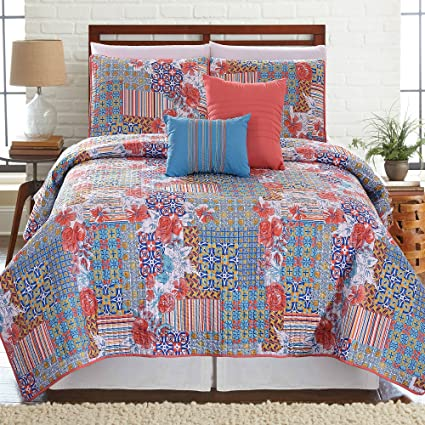 Amrapur Overseas Bellanova 5-Piece Printed Reversible Sheet Set (Queen)