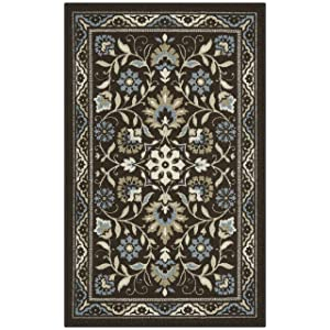 Maples Rugs Kitchen Florence 2'6 x 3'10 Non Skid Washable Throw Rugs [Made in USA] for Entryway and Bedroom Brown