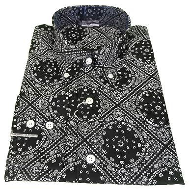 073e50a5e2e Relco Black White Paisley Long Sleeved Retro Mod Button Down Shirt (Small)