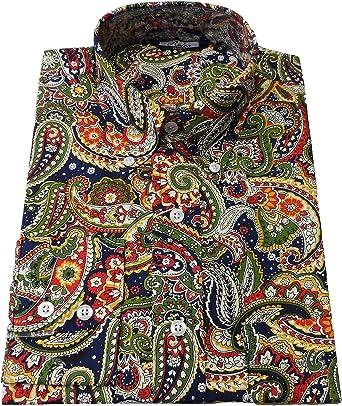 Relco Multi Azul Marino Motivo Cachemira Hombre Modelo Clásico Diseño Vintage Camisa`S (Pequeño): Amazon.es: Ropa y accesorios