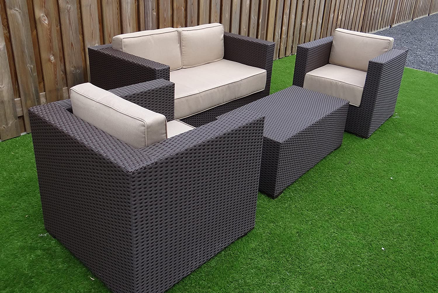 deluxe lounge set gruppe garnitur gartenm bel loungem bel polyrattan sitzgruppe braun. Black Bedroom Furniture Sets. Home Design Ideas