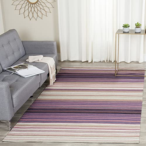 Safavieh Marbella Collection MRB279A Flat Weave White and Lilac Wool Area Rug 6 x 9