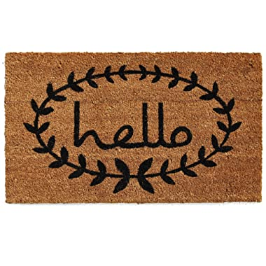 Calloway Mills 121811729 Calico Hello Doormat, 17  x 29 , Natural/Black