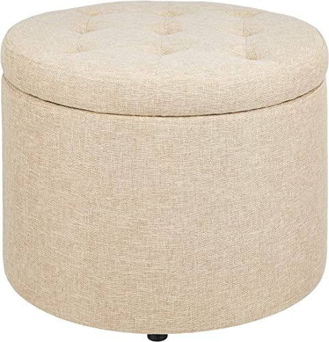 First Hill Round shoes stool with TAN Fabric