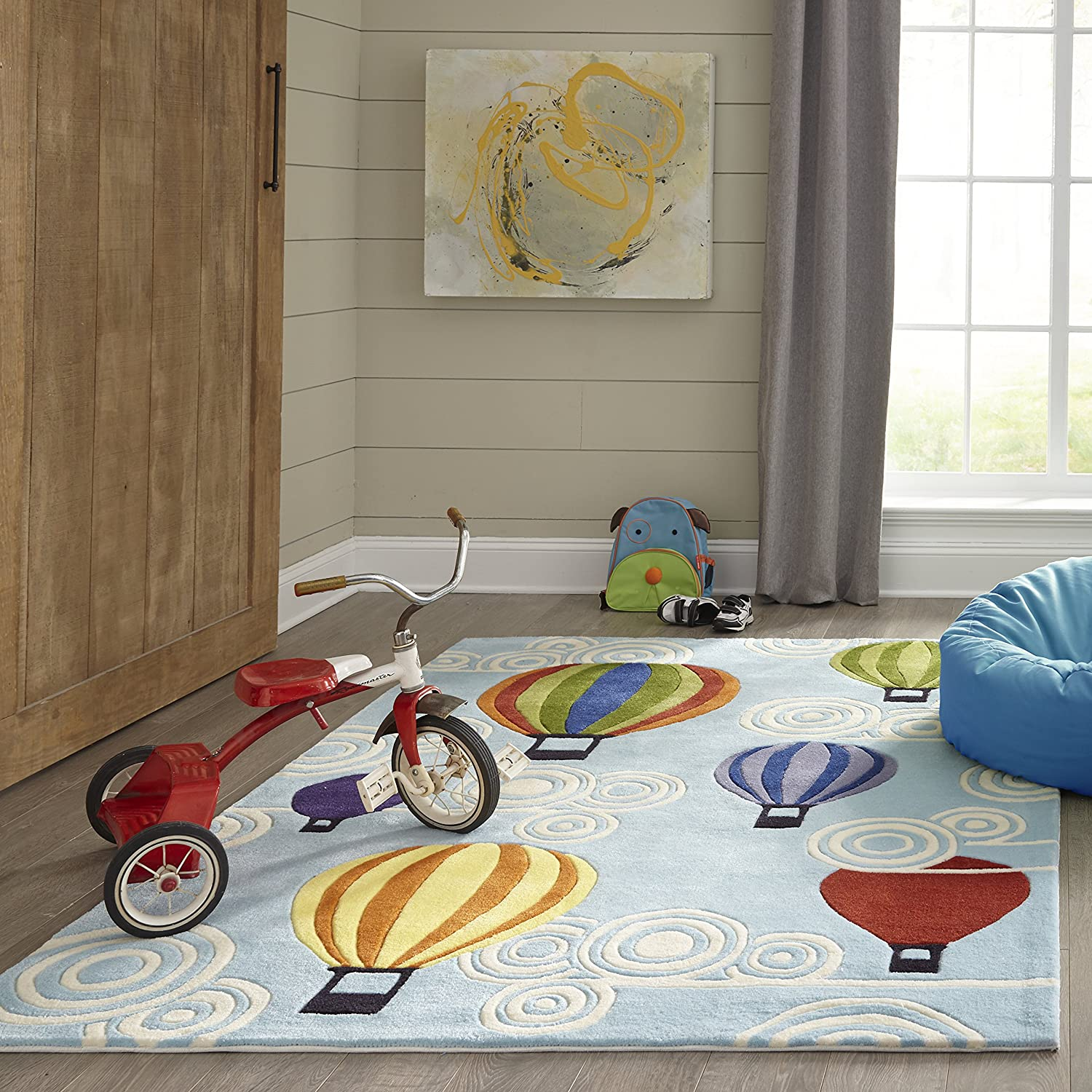 Momeni Rugs Kids Themed Hand Carved & Tufted Area Rug, 2' x 3', Multicolor Hot Air Balloons on Sky Blue