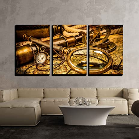 Amazon.com: wall26 - 3 Piece Canvas Wall Art - Vintage Magnifying ...