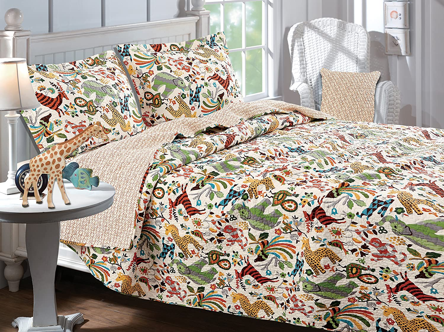 Greenland Home Safari Park Quilt Set, 3 Piece, Full/Queen