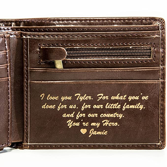 b7ac5180 Personalized Mens Wallet - Leather Wallet, The Perfect Mens Gift, Boyfriend  Gift, Father's Day Gift or Groomsmen Gift - Personalized Gifts for Men: a  ...