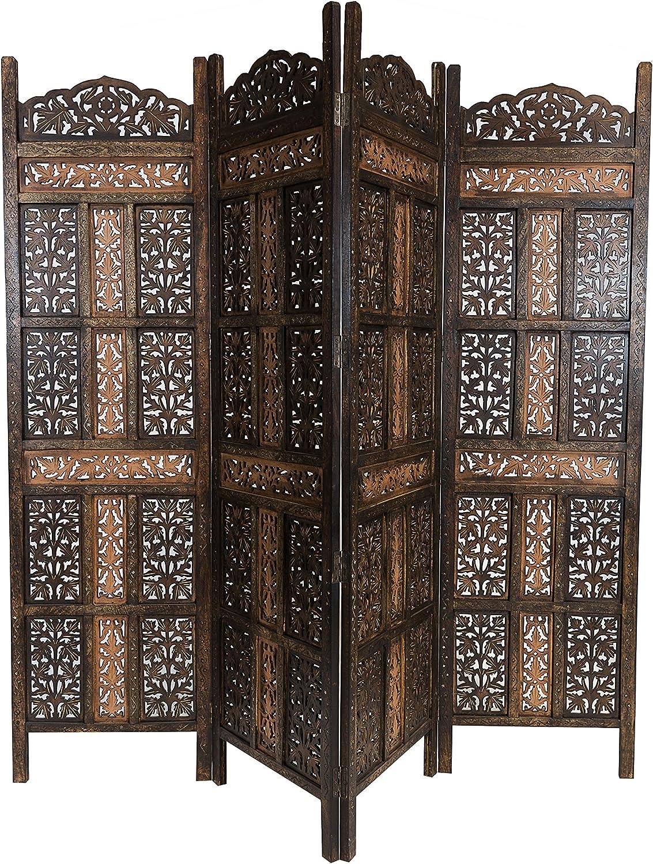 Marrakech Accessoires–Panel de madera Krishna 200x 180cm de altura en marrón   indio Biombo de Como raumtrenner o decoración de interior o visión protección para el jardín, terraza o balcón