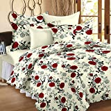 Ahmedabad Cotton Comfort 136 TC Cotton Single Bedsheet with 1 Pillow Cover - Beige and Red