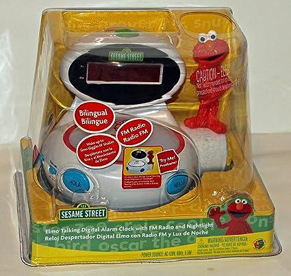 Amazon.com: Sesame Street Elmo Talking Bilingual Digital Alarm Clock with FM Radio: Home & Kitchen