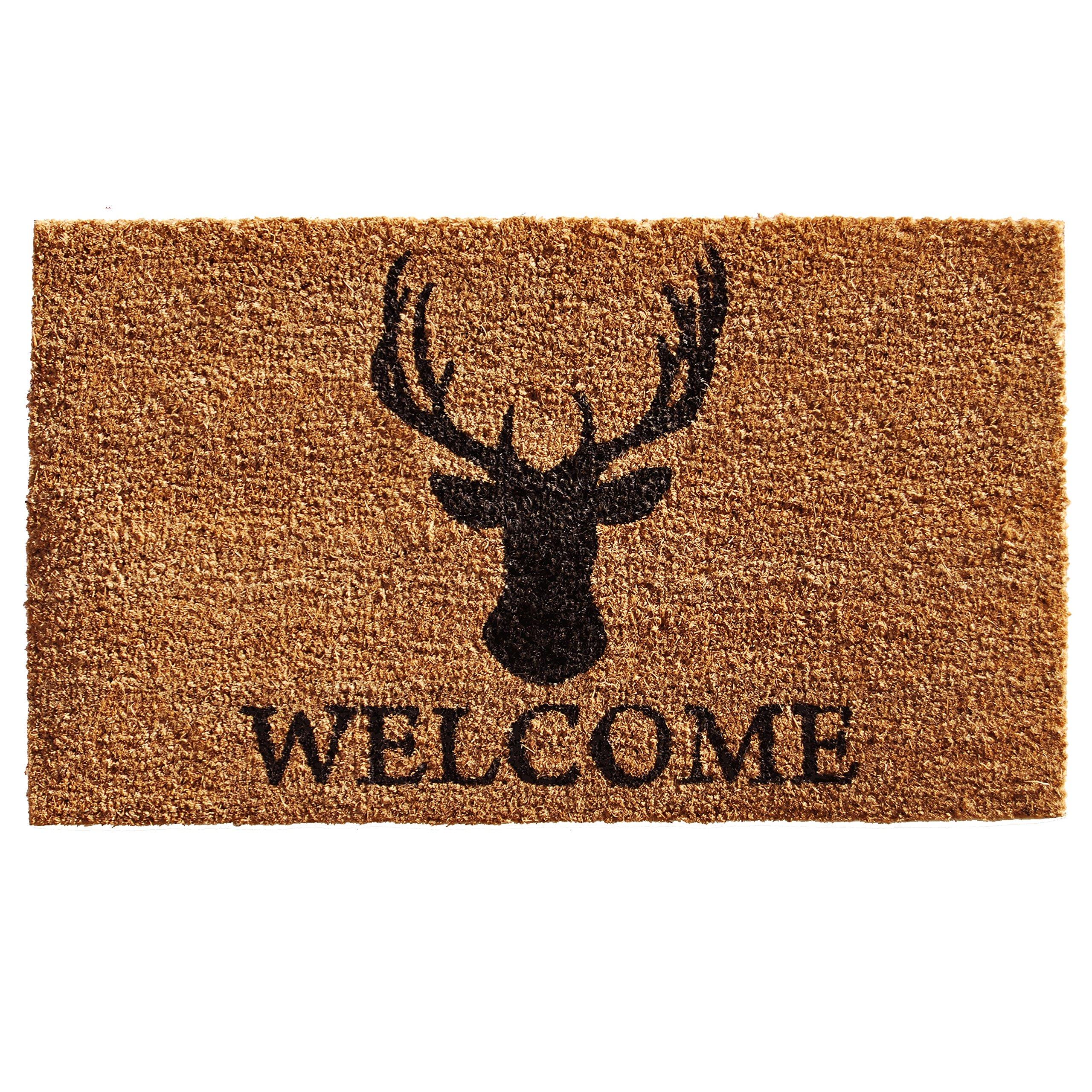 Home & More 121472436 Deer Welcome Doormat, 24'' x 36'' x 0.60'', Natural/Black