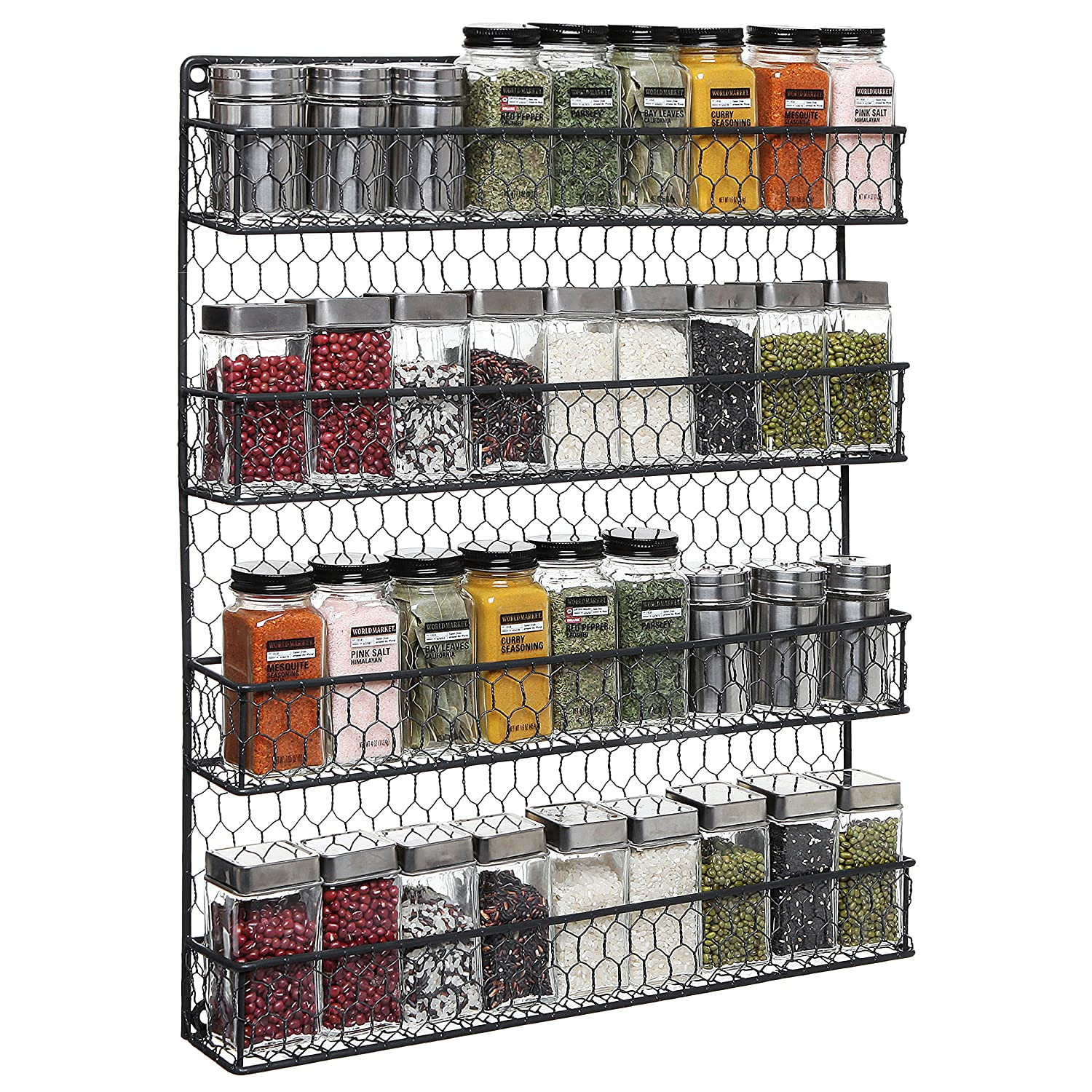 4 Tier Black Country Rustic Chicken Wire Pantry, Cabinet or