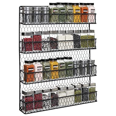 4-Tier Black Country Rustic Chicken Wire Pantry, Cabinet or Wall Mounted Spice Rack Storage Organizer