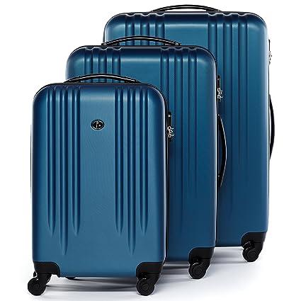 FERGÉ® Juego de 3 maletas de viaje MARSELLA trolley funda rígida 4 ruedas azul