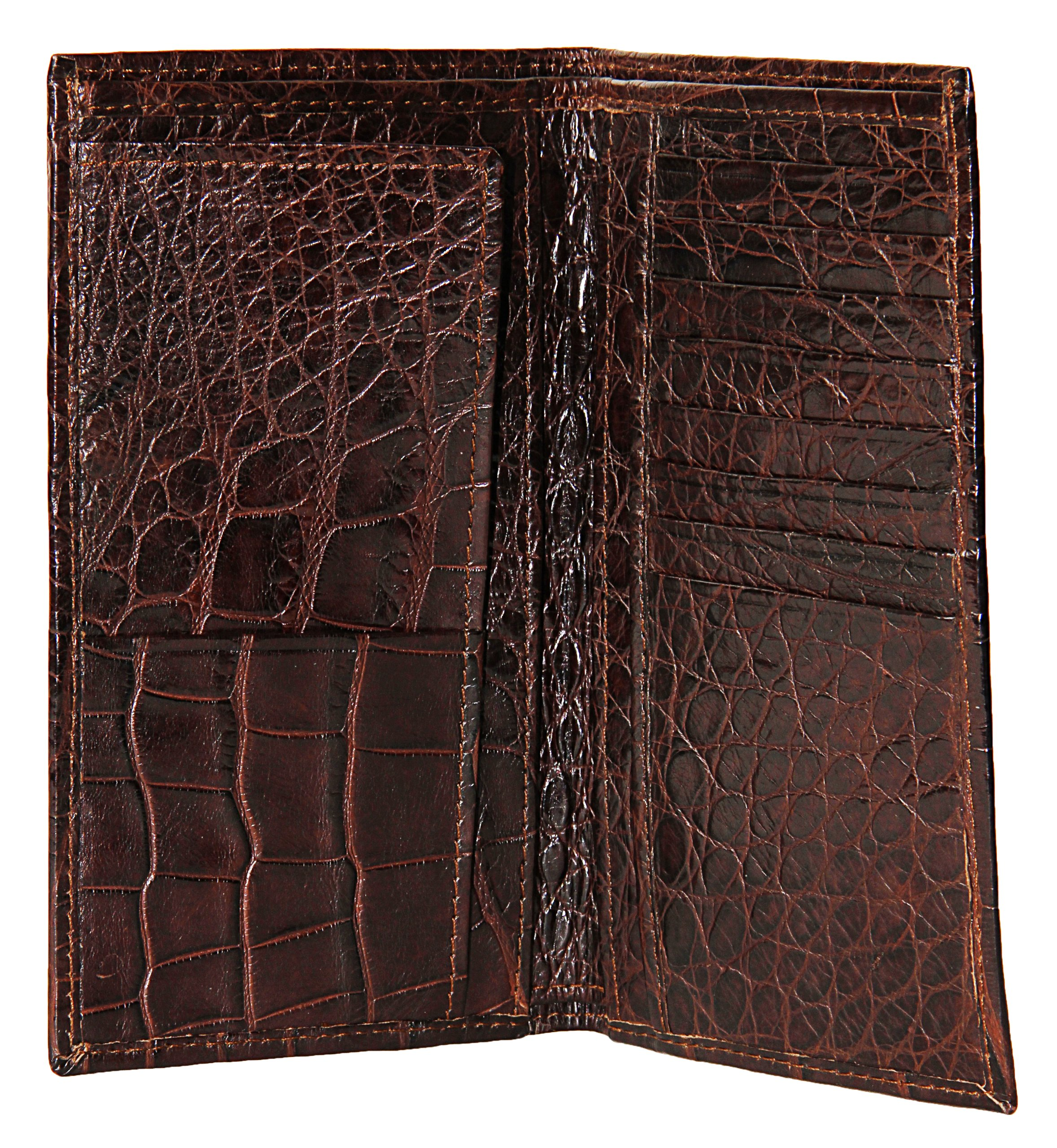 Sultan Genuine Alligator Unisex Checkbook Wallet - Brown Safari (Semi-Gloss) - One Size