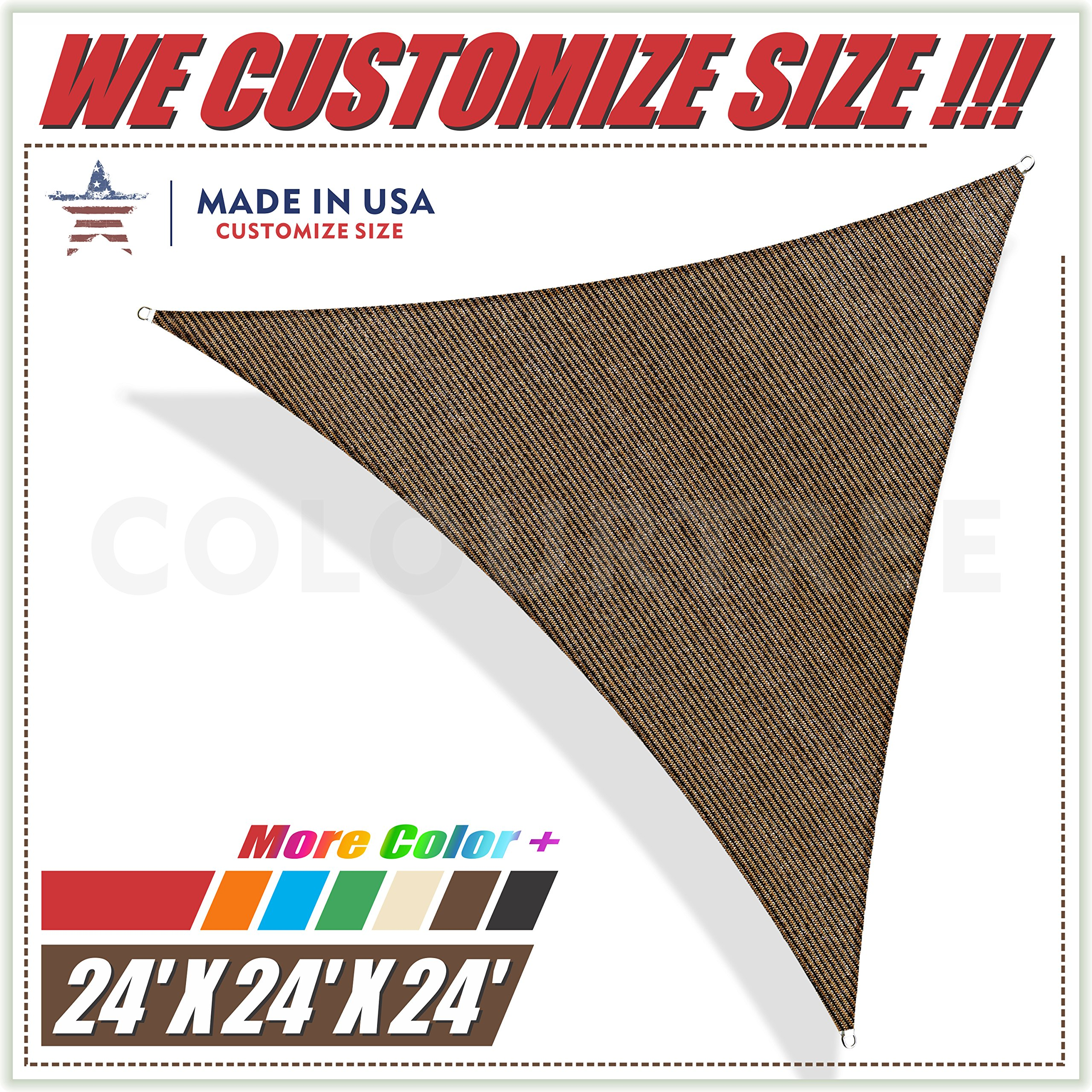 ColourTree 24' x 24' x 24' Brown Sun Shade Sail Triangle Canopy, UV Resistant Heavy Duty Commercial Grade, We Make Custom Size