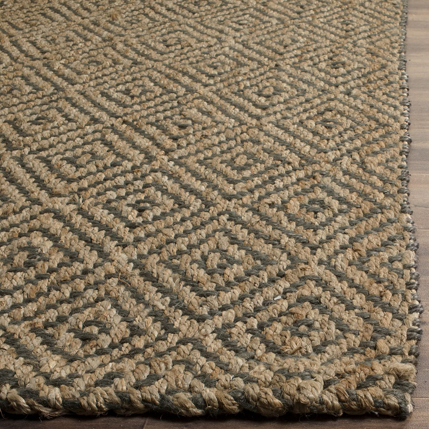 23 x 22 NF181C-222 Safavieh Natural Fiber Collection NF181C Hand-Woven Natural and Black Jute Runner