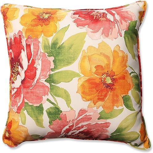 Pillow Perfect Outdoor Indoor Muree Floor Pillow, 25 , Floral, Primrose Orange