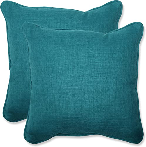 Pillow Perfect Outdoor Indoor Rave Teal Throw Pillows, 18.5 x 18.5 , Green, 2 Pack