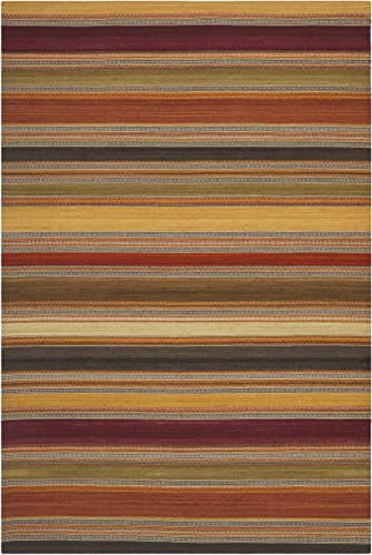 Safavieh Striped Kilim Collection STK315A Hand Woven Gold Premium Wool Area Rug 10' x 14'