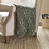 Amazon Brand – Stone & Beam Modern Heathered Cable-Knit Throw Blanket - 60 x 50 Inch, Dark Green