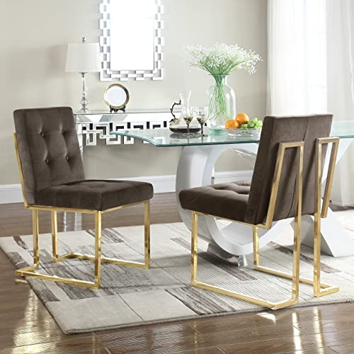 Iconic Home Levi Modern Contemporary Tufted Velvet Polished Brass Metal Frame Dining Side Chair