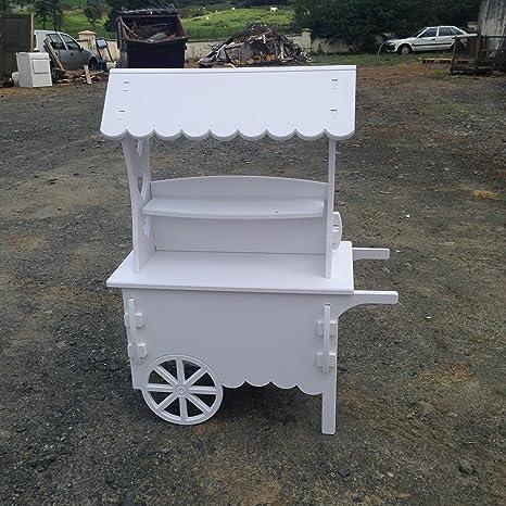 Carros de Candy Color blanco carro de boda dulces carrito para bautizo ideal para celebración