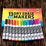 Dry Erase Markers Low Odor Marker Whiteboard Pens Set Fine Point Chisel Thin Tip with Erasers for Kids Classroom Assorted Extra Colors White Board Black and Blue Bulk Ultra Eraser 4 Pack Count Bullet