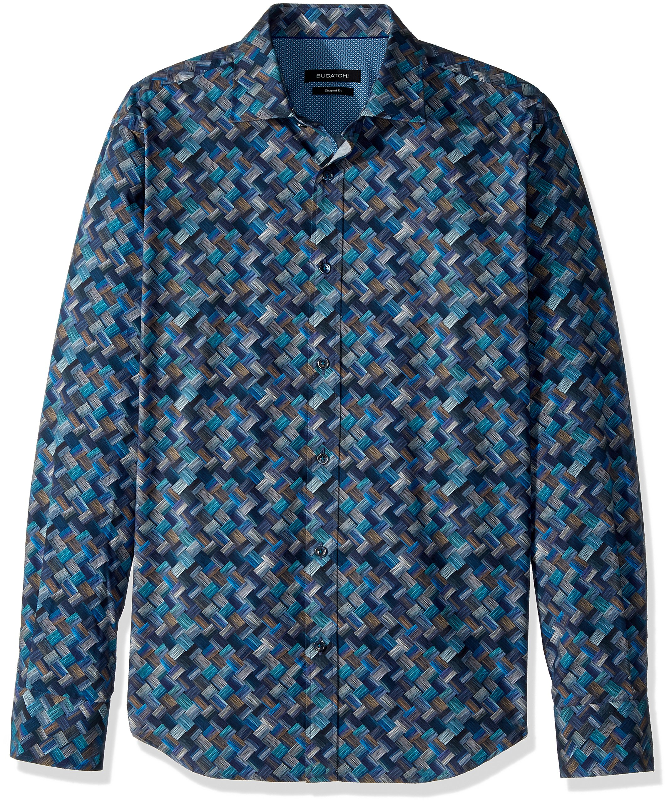 BUGATCHI Men's Cotton Tapered Fit Long Sleeve Shirt, Navy, Small