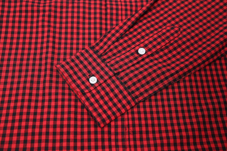 NUTEXROL Men Plaid Cotton Casual Slim Fit Long Sleeve Button Down Dress Shirts Beige NU161031GEZICX