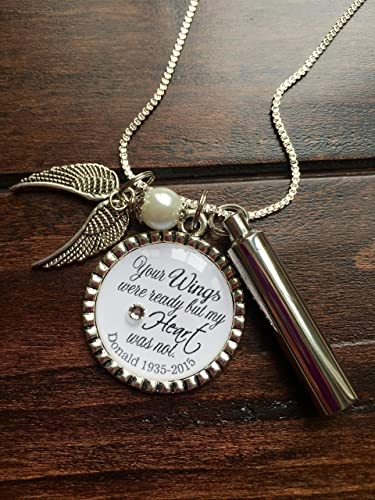 Amazon personalized cremation necklace your wings were ready personalized cremation necklace your wings were ready but my heart was not keepsake urn mozeypictures Choice Image