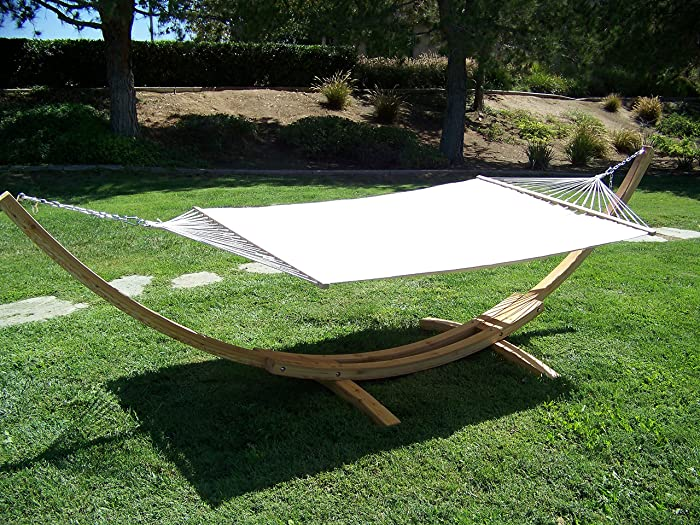 Petra Leisure, 14 Ft. Water Treated Wooden Arc Hammock Stand + Premium Quilted, Double Padded Hammock Bed. 2 Person Bed.450 LB Capacity(Natural Stain/Beige)