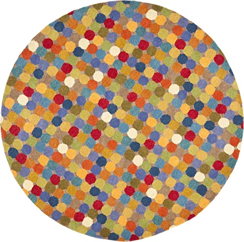 Safavieh Soho Collection SOH922A Handmade Abstract Polka Dot Multicolored Premium Wool Round Area Rug 8' Diameter
