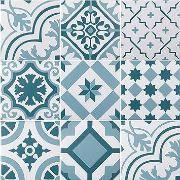 Mediterrane Dekorfliese Lissabon Mit 10 Verschiedenen Mustern Wand Und Bodenfliesen Mit Blauen Ornamenten Fur Bad Und Kuche Pro Paket 22 Fliesen In Zementfliesen Optik 0 5 M Amazon De Baumarkt