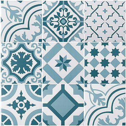 """Mediterrane Dekorfliese """"Lissabon"""" mit 10 verschiedenen Mustern   Wand- und  Bodenfliesen mit blauen Ornamenten für Bad und Küche   Pro Paket 22 ..."""