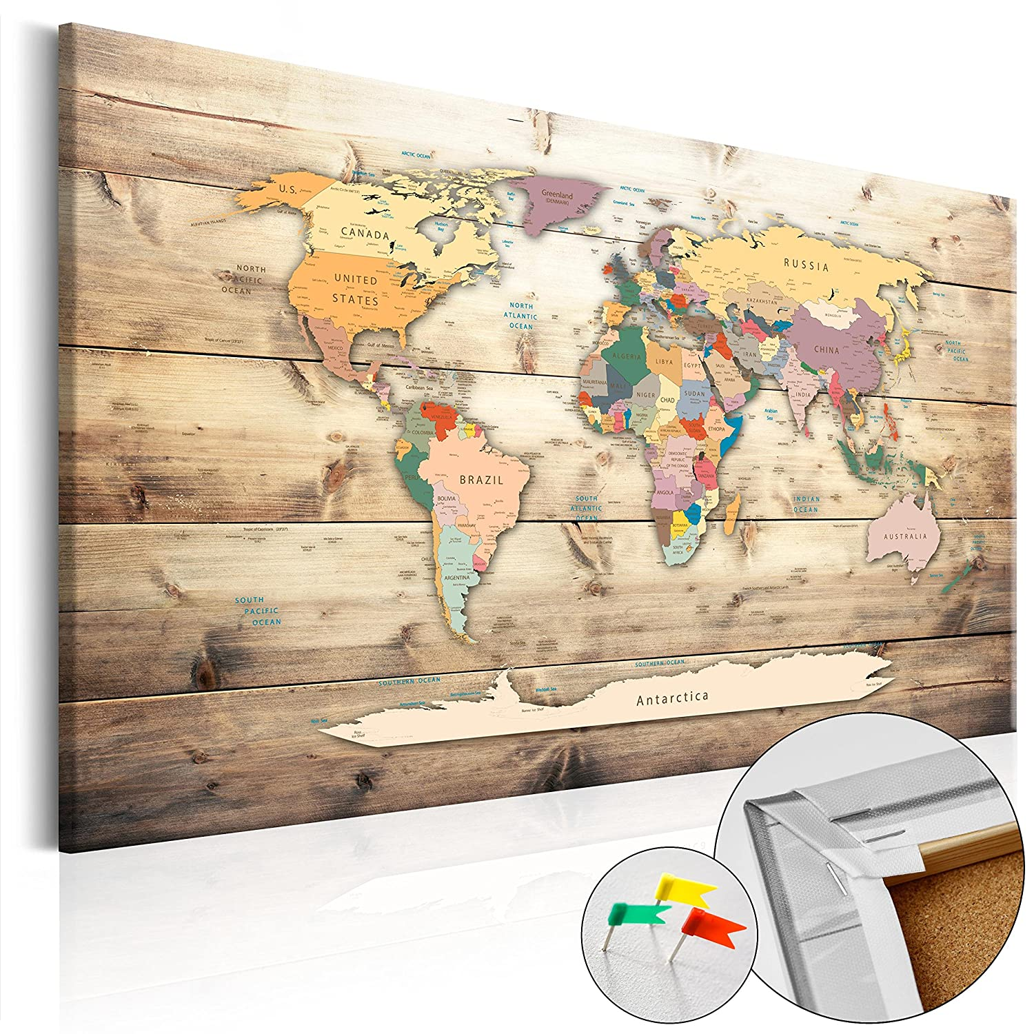 Pinboard map 60x40 cm - 1 Piece -Image Printed on Non-Woven Canvas with Cork Backing World map k-B-0009-p-b Poster Pin Board 23.6 by 15.7 in murando