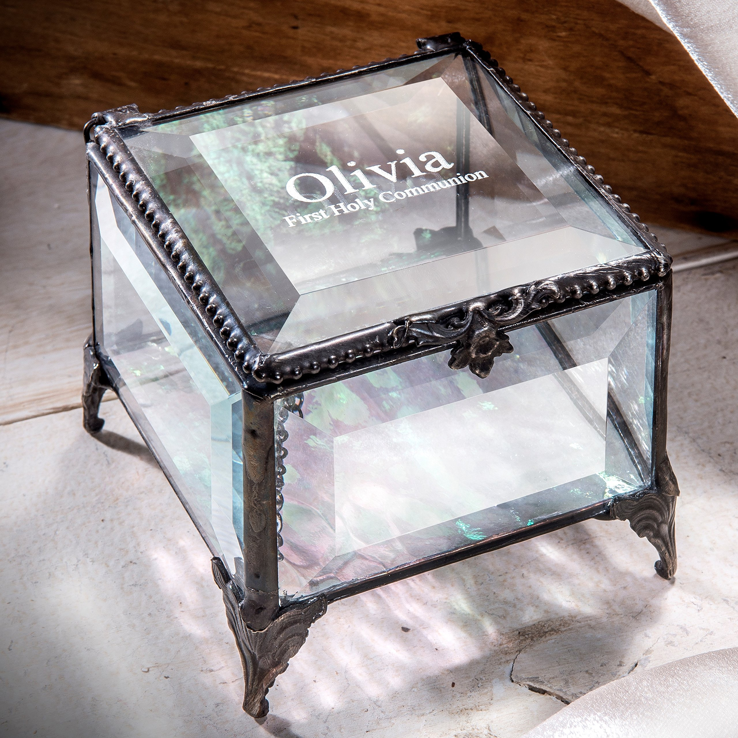 J Devlin Box 326 EB218-2 Personalized First Holy Communion Keepsake Box Engraved Stained Glass Religious Gift